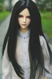 8-9 1/3 BJD Black Straight Long Wig LUTS Doll Slight Buckle Tips Hair