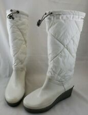 Sperry Top-Sider Rain Boots Wedge Quilted Down Fill Rubber White Women 8 M