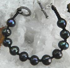 """Designer Authentic 11 Black Pearl Sterling Caviar Toggel Bracelet 8"""" Signed"""