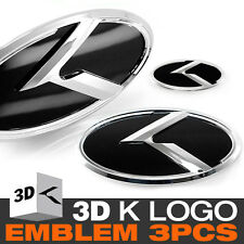 3D K Logo Front Grill + Trunk + Steering Wheel Emblem For KIA 10-13 Cerato Koup