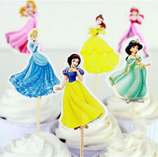 24 Pcs Disney Princess CUPCAKE CAKE TOPPERS Party Supplies Lolly Loot Bags Decor