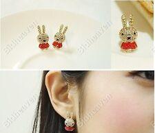 Cute Rabbit Bunny Rhinestone Stud Earrings for Women Girls Jewelry Romantic Red