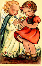 "Vintage Netherlands Postcard Young Girl Holding Flowers & an Angel 3.5"" x 5.5"""