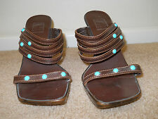 Brown Mootsies Tootsies Heels Shoes Pumps Faux Turquoise Accents Made in Italy 8
