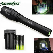 Black Zoomable 4000 Lumen 5 Modes XML T6 LED Torch Lamp Light 18650&Charger H6TN
