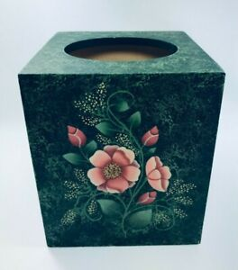 Vintage Wood Square Hand Painted Emerald Green w/ Coral Flowers Tissue Box 1980s