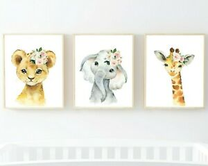 3 Jungle Animals Pink Flowers Nursery Prints Lion Giraffe Elephant Blush 621-A