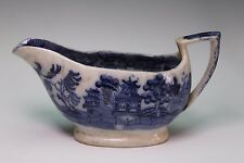 Chinese Export Flow Blue Sauce Boat Blue Willow