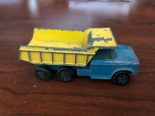 Matchbox Superfast Dodge Dumper Truck # 48 thin wheel transitional Blue Yellow