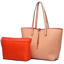 Ladies Reversible Tote  PU Leather  Handbag PVC Shopper Tote Shoulder Bag