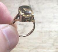 9ct 9carat Yellow Gold Ladies Large Smokey Quartz Solitaire Ring UK Size M
