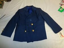 Vintage Boys Long Navy Blue Size 4 T Jacket with 2 Front  Gold Buttons