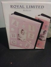 "New Vintage 1997 Royal Limited Silver BABY'S ABC ALBUM Holds 80 4""X6"" Photos"