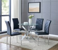 Clear Gl Round Dining Table With 4 Black Chairs Kitchen Furniture New