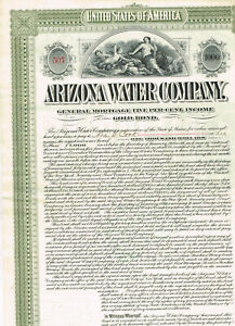 Arizona Water Co., 1899, $1000 Gold Bond, cancelled, VF