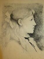Jules LEFEBVRE (1836-1911) Gravure ORIGINALE PORTRAIT ENFANT BOURBOULE AUVERGNE