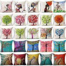 Flowers Life Tree Cotton Linen Sofa Waist Cushion Cover Pillow Case Home Decor