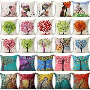 Flowers Life Tree Cotton Linen Sofa Waist Cushion Cover Pillow Case Home Decor