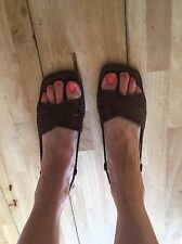 Russell And Bromley Brown Leather Woven Sandals Size 7/40/10