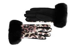 Gloves Women Leopard Cuff Hair Black Cuffed Winter Short Cat Wild 1