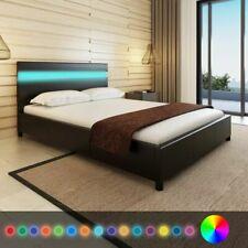 vidaXL Bedframe met LED Kunstleer Zwart 140x200 cm Ledikant Bed Ombouw Bedden