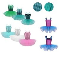 Girl Mermaid Sequins Ballet Dance Dress Costume Gymnastics Leotard Tutu Skirt