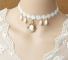 WHITE PEARL DROP Victorian Bride Wedding Gothic Goth Necklace Collar LACE CHOKER