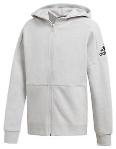 adidas Boys Youth (8-20) ID Stadium Full Zip Hoodie, Grey/Black