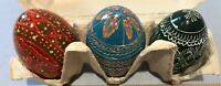 Hand Painted Eggs Easter Wooden Lot Of 3 Beautiful Eggs Pretty Decorations Godts