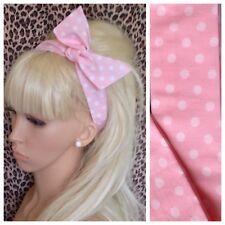 BABY PINK WHITE POLKA DOT SPOT BENDY WIRE HAIR TWIST HEADBAND WIRED 50s RETRO