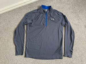 Mens Grey Under Armour Coldgear 1/4 Zip Fitted Long Sleeve Top Size Medium