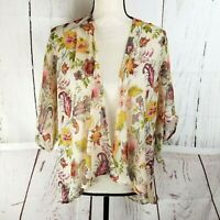 Band of Gypsies Open Front Cardigan Women Sz S/ M Beige Pink Floral Sheer Kimono
