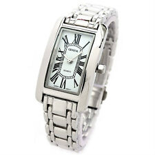 Silver Bracelet Geneva Rectangle Face Women's Watch