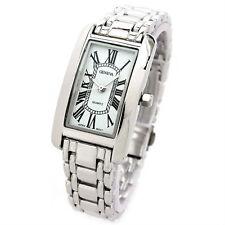 Silver Bracelet Geneva Rectangle Face Women's Watch