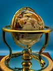 Large Cream Semi Precious Gemstone Globe With Brass Base And Compass