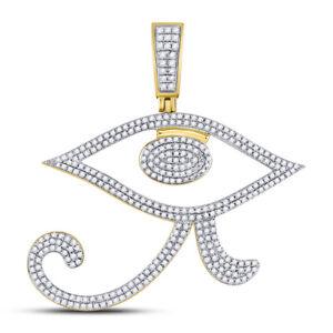 10kt Gelbgold Herren Rund Diamant Auge Von Ra Ägyptische Anhänger 1.00 Cttw