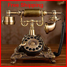Antique Rotary Phone Home French Vintage Desk Telephone Bronze Retro Gift Gold