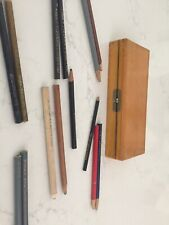 Conte A Paris Rouge Pencils And Others Too - 14 Total And Vintage Wood Case