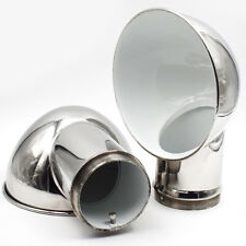 """Pair Boat Round Cowl Vent Polished 316 Stainless Steel 11.4"""" x 8.5"""" Marine"""