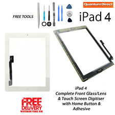 NEW Complete Front Glass/Digitiser Touch Screen/Panel Assembly FOR iPad 4 WHITE