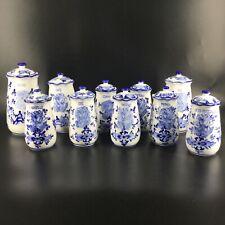 Très bel ensemble de 10 pots à épices signés Delfts