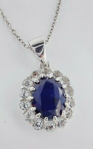 """Beautiful Sterling Silver Natural Sapphire & Clear Crystal Pendant Necklace 18"""""""