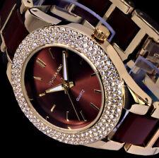 Excellanc Uhr Damenuhr Armbanduhr braun Gold Farben Metall STRASS 3f