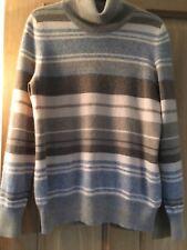M&S Pure Cashmere Striped Polo Neck Jumper Size 16