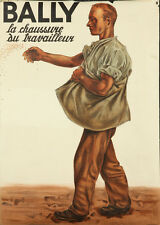 Original Vintage Poster Bally Work Shoes Swiss Switzerland Worker Farmer 1934