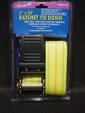 20 Foot X 2 Inch Ratchet Tie Down Strap Vinyl Coated Hook 2500 LBS  Heavy Duty