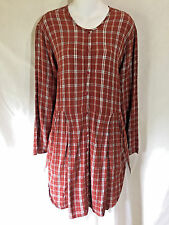 2002 FALL FLAX Red Autumn Plaid Overall Shirt Long Skirted Tunic Top Lagenlook S