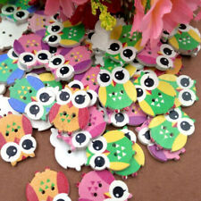 50Pc Owl Big Eyes Shape 2 Holes Wooden Buttons Sewing Button Kid's Scrapbooking