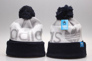 New Adidas Logo Arcylic Winter Knit Beanie Cuffed POM Adult Unisex Navy/Gray