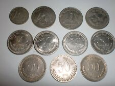 "-INDIA - 11 OLD ""1/2 RUPEE""/""1/4 RE.""/""50 NAYE PAISE""&""50 P."" COINS-1951/74#11DF"